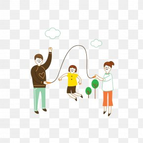 Cartoon Hand-painted Rope Skipping Family - Jump Ropes Jumping Sport Illustration PNG