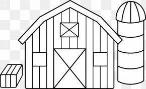 Farm Home Cliparts - Black And White Farm Barn Silo Clip Art PNG