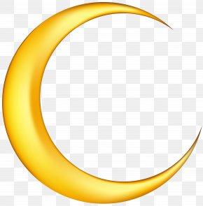 Yellow New Moon Clip-Art Image - Crescent Moon Clip Art PNG