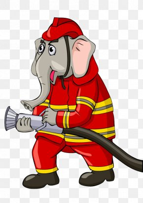 Elephant Fireman Image [ - Firefighter Cartoon Royalty-free Clip Art PNG