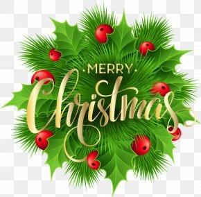 Merry Christmas Pine Decoration Clip-Art Image - Christmas Clip Art PNG