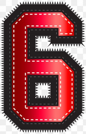 Red Sport Style Number Six Clip Art Image - Red Number Pixel PNG