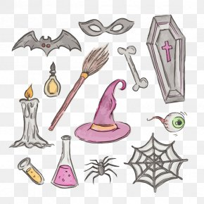 Vector Witch Candle - Drawing Halloween Clip Art PNG