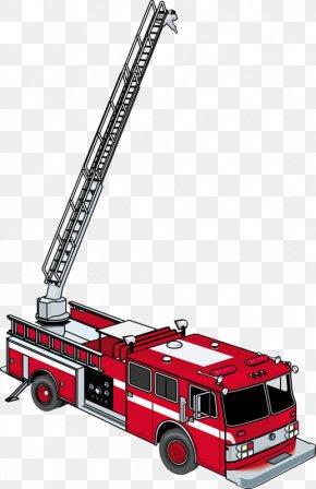 Red Fire Truck - Ladder Fire Engine Firefighter Fire Department Clip Art PNG