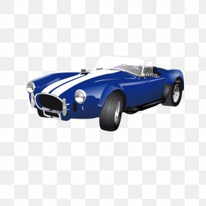 Vector Retro Classic White Stripes Blue Sports Car - Sports Car Tesla Roadster Luxury Vehicle PNG