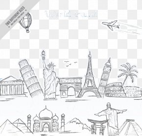 Hand-painted Statue Of The World Famous Statue Of Liberty - Statue Of Liberty Architecture Drawing PNG