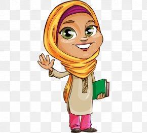Cartoons Painted In The Middle East Muslim Girls - Islam Muslim Clip Art PNG