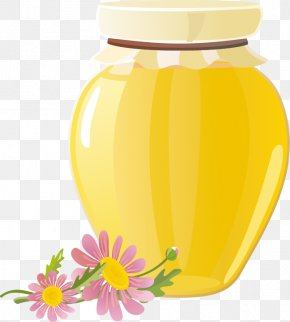 Cartoon Honey Honey Pot - Honey Bee Honey Bee PNG