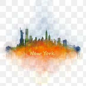 New York City - New York City Skyline Watercolor Painting Cityscape PNG