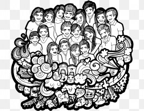 Happy Family - Drawing Line Art Social Group Family PNG