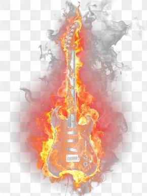 Burning Guitar - Fire Flame Light PNG