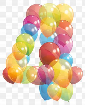 Transparent Four Number Of Balloons Clipart Image - Number Balloon Clip Art PNG