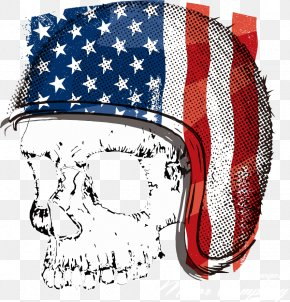 Vector Flag Skull Print - T-shirt Motorcycle Helmet Flag Of The United States PNG
