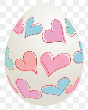 Easter Egg With Hearts Clipart Picture - Easter Bunny Red Easter Egg Clip Art PNG