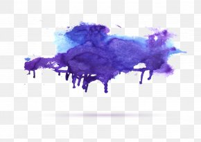 Purple Watercolor - Ink Watercolor Painting PNG