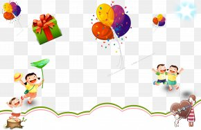 Cartoon Child Gift Balloon Decoration Background - Balloon Gift Drawing Animation PNG