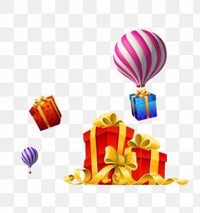 Hot Air Balloon Ribbon Bow Gift Gift - Christmas Gift Christmas Gift Ribbon PNG