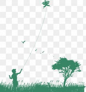 Child Flying A Kite - Airplane Kite Child PNG