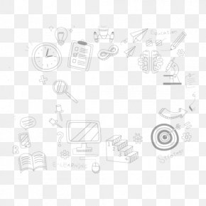 Cartoon Black And White Background School Supplies - Student School Learning Drawing PNG