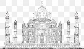 Vector Painted Taj Mahal, India - Taj Mahal Drawing Stock Illustration Stock Photography PNG