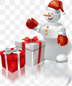 Vector Snowman Gift - Christmas Gift Clip Art PNG