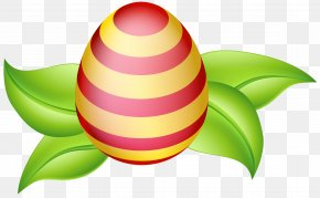 Easter Egg With Spring Leaves Clip Art Image - Circle Fruit Easter Egg Wallpaper PNG