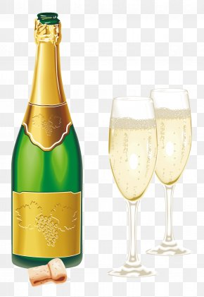 New Year Open Champagne With Glasses Picture - Champagne Glass Beer Clip Art PNG