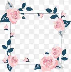 Romantic Valentine's Day Rose Flower Bunny Border - Damask Rose Flower Wedding Invitation Pink PNG