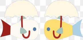 Vector Cartoon Kissing Fish - Cartoon Child Animation Clip Art PNG