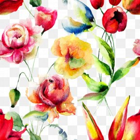Beautiful Watercolor Flowers Background - Flower Watercolor Painting Floral Design Petal Pattern PNG