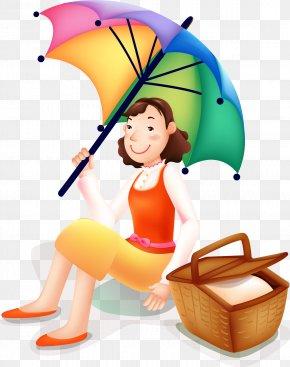Vector Picnic Woman Holding Umbrella - Picnic Clip Art PNG