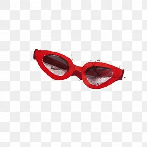 Drawing Red Frame Glasses - Goggles Red Sunglasses Watercolor Painting PNG
