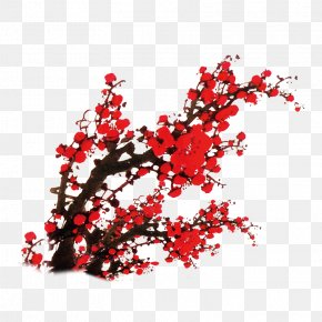 Chinese Wind Plum Red Ink Decorative Pattern - Red PNG