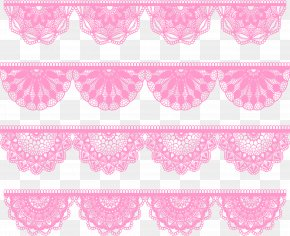 Pink Fan-shaped Lace Edge - Pink Download PNG
