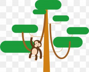 Vector Hand Painted Monkey Climbing Tree Poster - Tree Monkey Euclidean Vector PNG