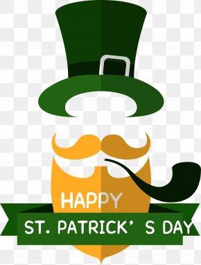 Patrick's Day Cartoon Label - Ireland Saint Patricks Day Flat Design Clip Art PNG