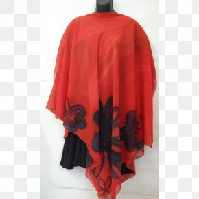 Design - Outerwear Red Poncho Floral Design PNG