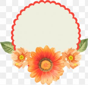 Fresh And Beautiful Chrysanthemum Lace Border - Paper Label Free Content Clip Art PNG
