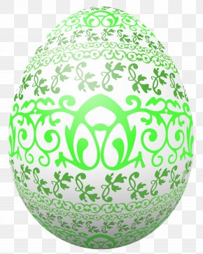 Easter White Egg With Green Decoration Clipart Picture - Easter Bunny Red Easter Egg Clip Art PNG
