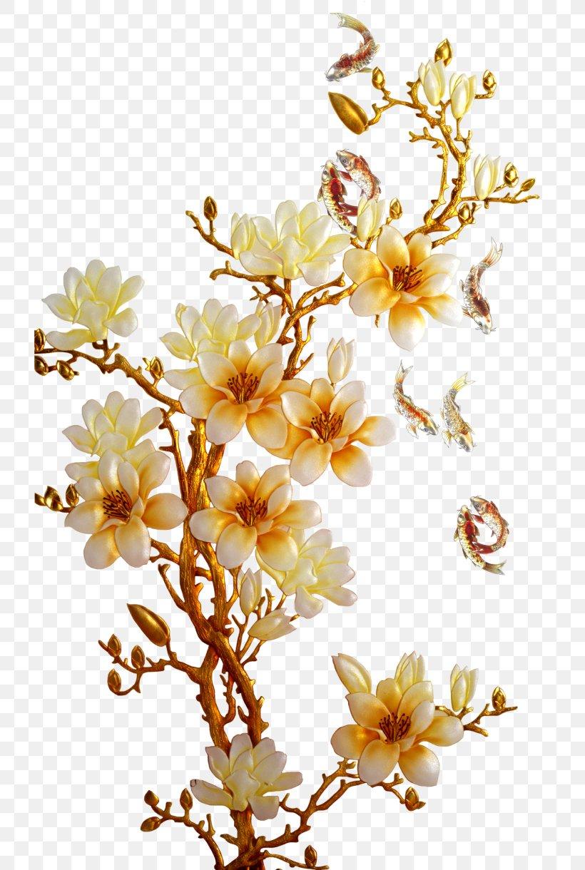 Golden flower, png, 2050x3050px, flower, art, blossom, branch, cut.
