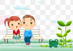Fresh Cute Cartoon Child Seat Tree Frog - Animation Cartoon Couple Love Wallpaper PNG