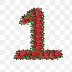 Rose Number 1 - Number Digital Data Clip Art PNG