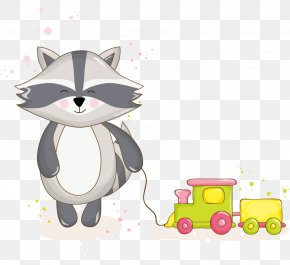 Cute Cartoon Raccoon Hand-painted Toy Trains - Raccoon Cartoon PNG
