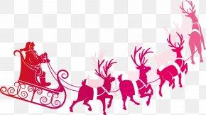 Santa Claus Riding A Sleigh Element - Santa Clauss Reindeer Rudolph Santa Clauss Reindeer Clip Art PNG