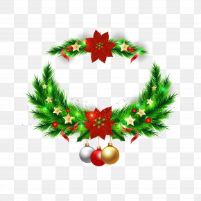 Christmas Wreath Vector Elements - Christmas Tree Wreath Christmas Ornament PNG