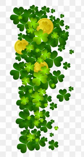 St Patricks Shamrock With Coins PNG Clipart - Shamrock Saint Patrick's Day Clip Art PNG