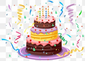 Birthday Cake With Confetti Clipart Picture - Birthday Cake Clip Art PNG