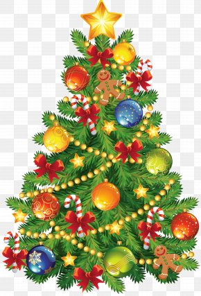 Large Transparent Christmas Tree With Gingerbread Ornament Clipart - Christmas Tree Clip Art PNG