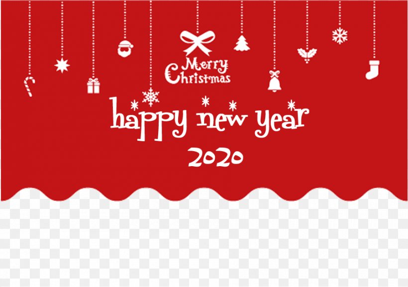Happy New Year 2020 Christmas, PNG, 900x634px, 2020, Happy New Year, Christmas, Rectangle, Red Download Free