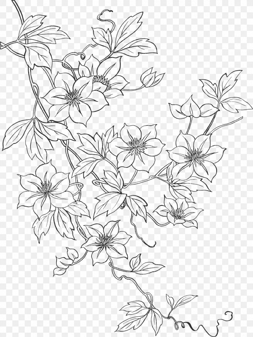 Line Art Embroidery Drawing Flower Pattern Png 1199x1600px Line Art Applique Area Black And White Branch
